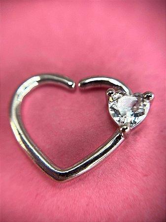 Piercing Daith Coração com Cristal