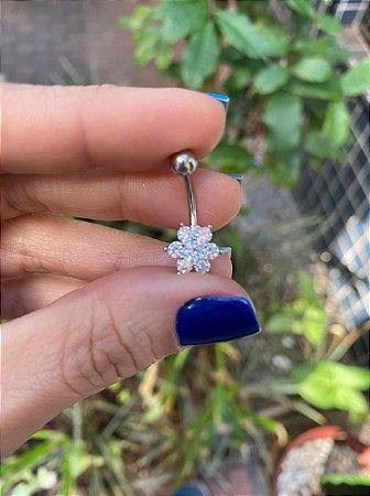 Piercing Umbigo Flor Pétalas em Zircônias - Flor 12mm