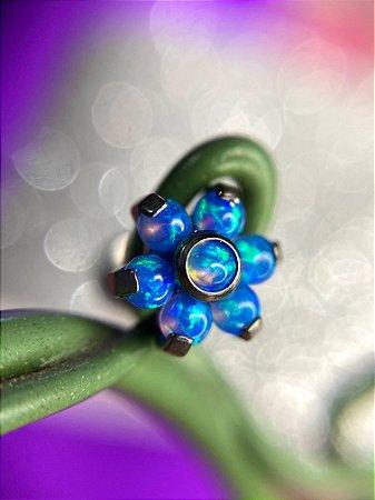 Labret em Titanio Flor com Pedra de Opala - AZUL- Tamanho 8mm