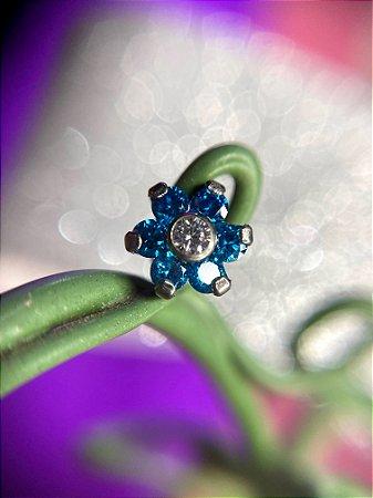 Labret em Titanio Flor com Zircônia - AZUL