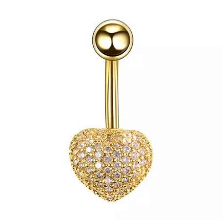 Piercing de Umbigo em Aço Coração com Micro Zircônias Cravejadas - GOLD
