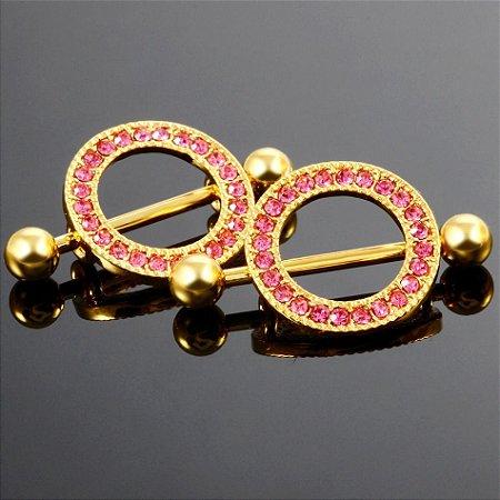Piercing para Mamilo PVD Gold com Zircônias Rosa