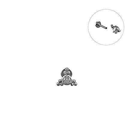 Labret indiano com Micro Esferas c/ Zircônia Central - Titânio