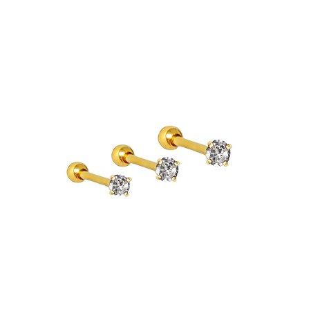 Microbell Reto em PVD Gold com Ponto de Luz 1.2/8/2.5mm