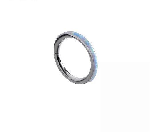 Argola Segmento Articulado Titânio -Pedra de Opala - 1.2/10mm