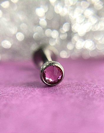 Labret em Titânio com Ponto de Luz Rosa Cravejado - 1.2/6/3mm