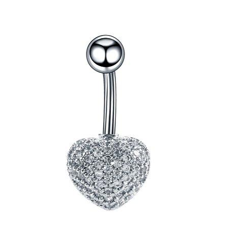 Piercing de Umbigo em Aço Coração com Micro Zircônias Cravejadas