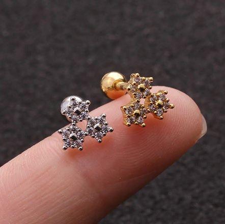 Microbell com 3 Mini Flores Cravadas - Gold