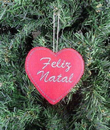 Enfeite de Natal coração Feliz Natal