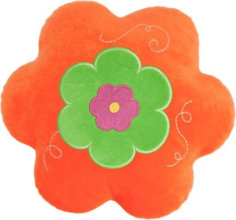 Almofada flor laranja com verde