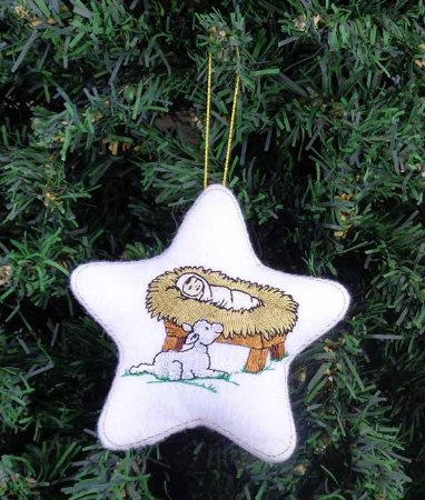 Enfeite de Natal estrela Menino Jesus