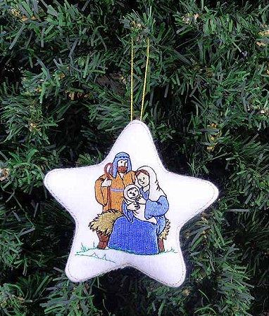Enfeite de Natal estrela, Maria, José e Menino Jesus