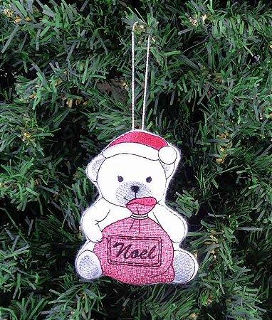 Enfeite de Natal urso com saco de presentes