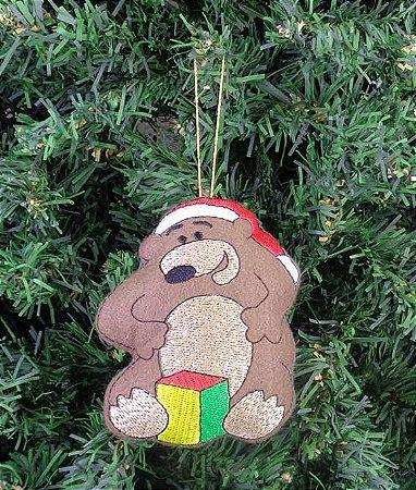 Enfeite de natal urso com presente