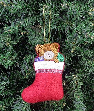 Enfeite de Natal bota urso