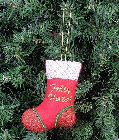 Enfeite de Natal bota Feliz Natal