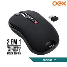 Mouse/Pointer sem Fio 2x1 Wireless 2.4Ghz 1200Dpi com Função Apresentador Multimídia OEX MS700 - Preto