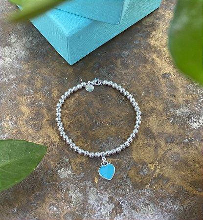 Pulseira Coração Azul Tiffany