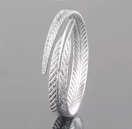 Bracelete Folhagem Prata