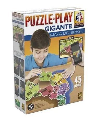 Puzzle 45 Peças Contorno Gigante Mapa Do Brasil