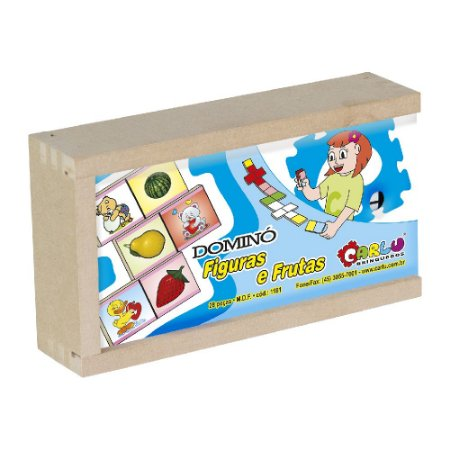 Domino Figuras e Frutas 28 peças