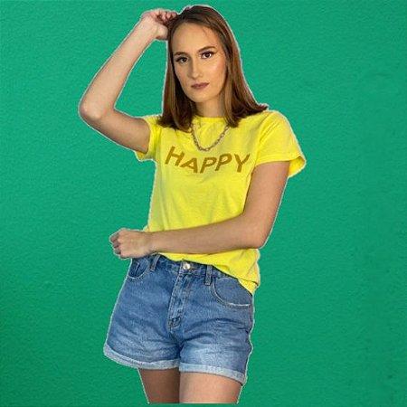 Camiseta Feminina Estonada Amarela HAPPY