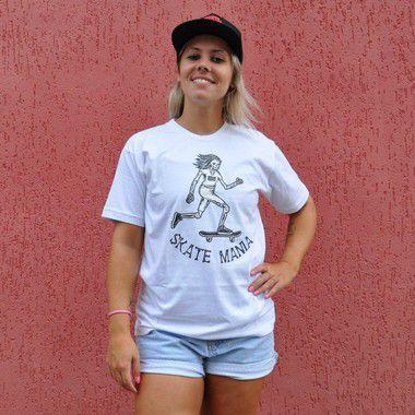 Camiseta Unissex SkateMania em Algodão Branca