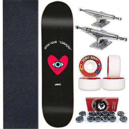 Skate Completo com Shape Amee Open Your Coração 8,5 Polegadas