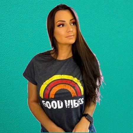 Camiseta Feminina Estonada Preta GOOD VIBES