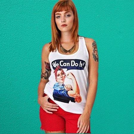 """Regata Feminista """"We Can do It"""" Branca"""