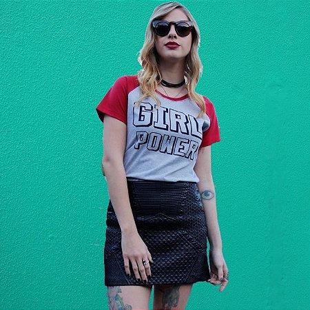 Camiseta Raglan GIRL POWER Cinza