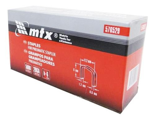 Grampos P Grampeador Pneumático 6mmX11,2mmX0,6m 5000Pçs MTX