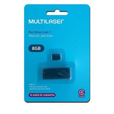 Pen Drive 2 em 1 USB Cartão de Memória 8GB Multilaser MC161
