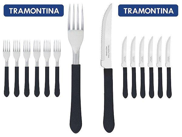 Kit Restaurante 24 Talheres Tramontina 12 Facas + 12 Garfos