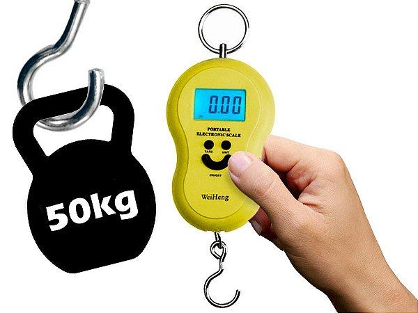 Balança Digital Portátil Manual Bolsa Mala Peixe Até 50kg Amarelo