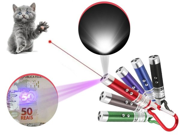 Kit 6 Laser Pointer Vermelho 3 Em 1 Lanterna Gato Brincar