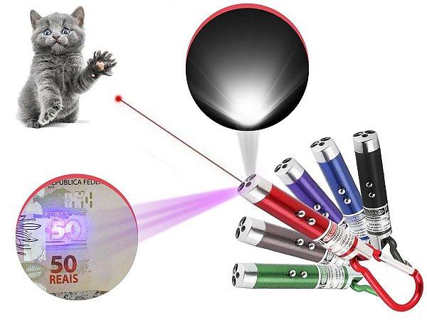 Kit 18 Laser Pointer Vermelho 3 Em 1 Lanterna Gato Brincar