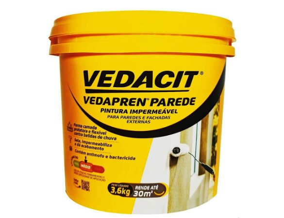 Tinta Impermeabilizante Vedapren Parede Acrílica 3,6kg