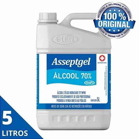 Álcool Líquido 70% Antisséptico Limpeza Asseptgel - 5 Litros
