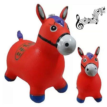 Cavalinho Musical Borracha Upa Upa Brinquedo Vermelho