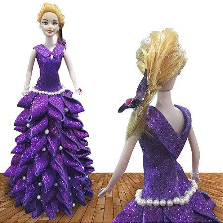 Boneca Princesa Linda Disnay Vestido Brilhante