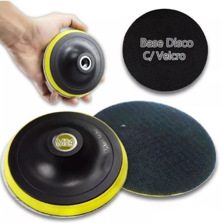 Base de Disco de Lixa Velcro 125mm x M14 e Adaptador
