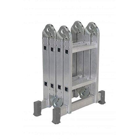 Escada Articulada Em Alumínio 4x2 Com 13 Posições De Uso