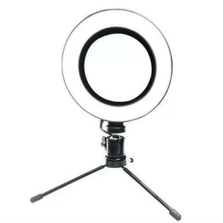 Luz Led Ring Light Iluminador Selfie Makeup Tripé De Mesa