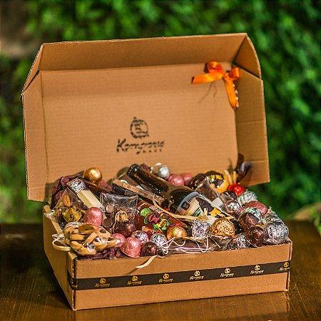 Cesta com 2 cervejas artesanais + chocolates refinados Kemper's Haus