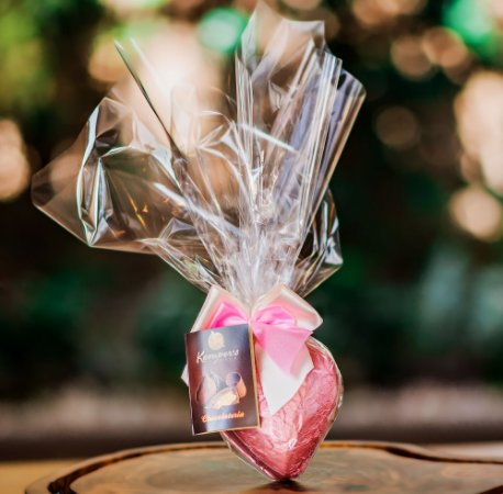 Mini coração de chocolate com 3 bombons