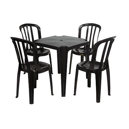Conjunto de Mesa com Cadeiras de Plástico 182kg - Preta