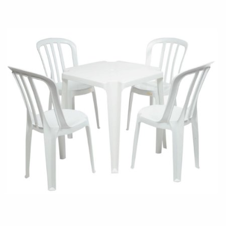 Conjunto de Mesa com Cadeiras de Plástico 182kg
