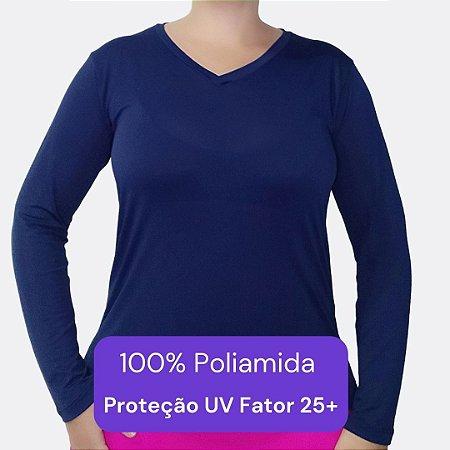 Camiseta Feminina Manga Longa - Modelo Lisa cor Azul Marinho