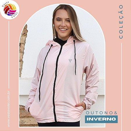 Jaqueta Feminina Corta Vento com Forro - Modelo Lisa cor Rosa